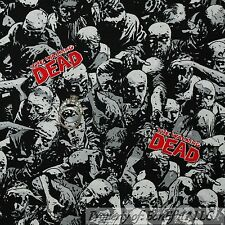 BonEful Fabric FQ Cotton Quilt GRAY B&W Red The Walking Dead ZOMBIE People Faces