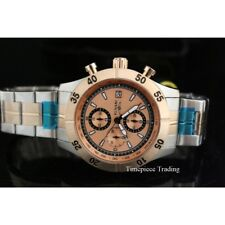 Invicta Specialty Chrono Quartz Rose Gold Textured Dial Two Tone SS Mens Watch 1