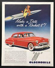 1950 Olsdsmobile Rocket 88 futuramic red car auto illustrated vintage print ad