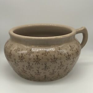 19th Century Ironstone Chamber Pot Brown Transferware Marked Virginia USA Made
