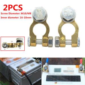 2PCS M10/M8 Car SUV Battery Pure Copper Battery Chuck Terminal Cable Head Brass
