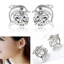 Silver Plated Dolphin Earrings Ear Studs White Crystal Jewelry Women Present r