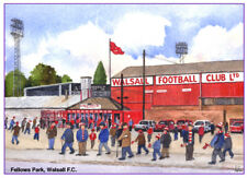 """WALSALL F.C. OLD FELLOWS PARK WATERCOLOUR ARTISTS PRINT CARD 8""""x 6"""" FREE POST"""