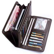 Men's Leather ID Card Holder Zip Wallet Purse Clutch Checkbook Billfold Casual