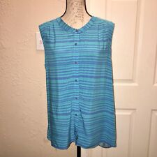 Attention Women Geometric Button Down Hi Low Blouse Sleeveeless XL Blue Striped