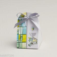 Lot de 10 boites à dragées iris communion Collection Vitrail vert avec ruban