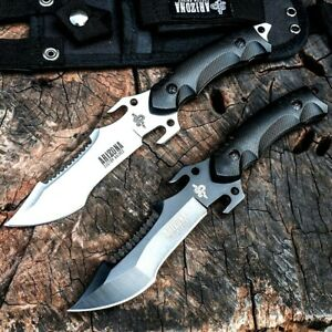 Tactical Knife Forged Steel White Black Mirror Blade Survival Hunting Serrated L