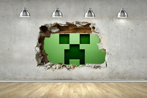 Creepy Block 3D SMASH Wall Stickers Miner Gamer Fort Gaming Decals