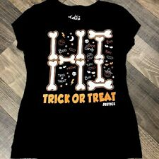 Justice Girls Glow in the Dark Trick or Treat Halloween T-shirt  size 8 EUC