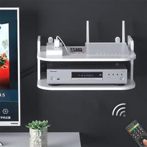 2 Tier White Floating Shelf Storage TV BOX Sky Box Media Display Shelf Holder