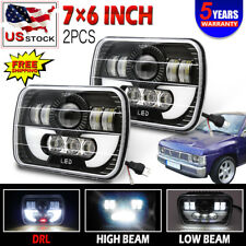 2x 5x7 LED Hi+Low Sealed Beam 7x6 Headlight Black Halo 90-97 for  Pickup 240SX