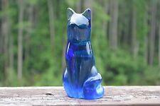 Labino Studio Baker O'Brien Blue Cat Art Deco Glass 1992 Art Glass Hand Blown