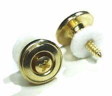 COPPIA di oro cromato stile Vintage Tracolla chitarra pulsanti / pin per chitarra o bass