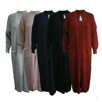 Women Ladies Longline Fisher Knitted Long Sleeve Midi Length Cardigan Jumper Top
