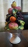 "Vintage Vegetable Topiary Porcelain Capodimonte Basket 8.5"" Tall"