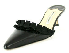 MANOLO BLAHNIK Black Leather Canvas Ruffle Trim Mid-Heel Mules 39