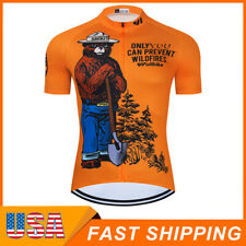 Men's Short Sleeves Cycling Jersey Breathable Outdoor Biking Bear Tops US Size