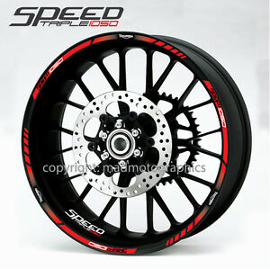 Speed Triple 1050 motorcycle wheel decals 12 rim stripes stickers laminated red