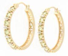 """Delightful Fine Gold Peridot Hoop Earrings 14k Yellow Gold 1"""" Inch"""
