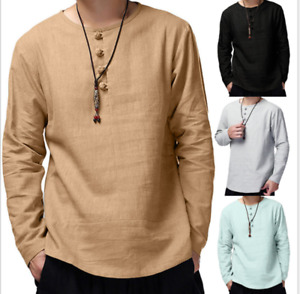 Men's Summer T-Shirt Cotton Linen Tops Retro Shirts O-Neck Beach Yoga Top Blouse