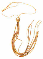 Saddle Colored Leather Tie Necklace on Small Tarnished Brass Circle USA by Twigs