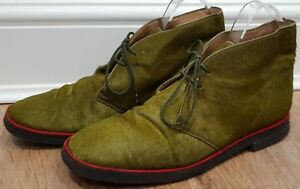 CHRISTIAN LOUBOUTIN Green Pony Hair Red Trim Rubber Sole Ankle  Boots 39 UK6