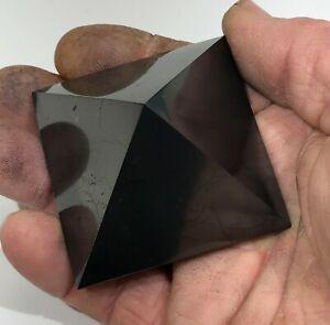 SHUNGITE CRYSTAL Pyramid Polished EMF Protection Heal Detox Karelia 138g 58mm F