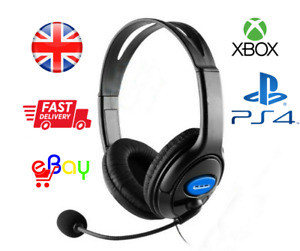 3.5mm Gaming Chat Headset MIC Headphones For PC SW Laptop Xbox PS4 One X Slim UK