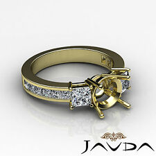 Three Stone Diamond Wedding Ring 14k Yellow Gold Princess Round Semi Mount 1.1Ct