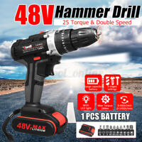 48V Electric Hammer Drill Cordless Drill Woodworking Tool Rechargeable   H}
