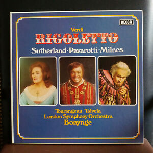 RIGOLETTO VERDI Sutherland-Pavarotti-Milnes London Symphony Orch. Box 3 lp 542-4