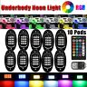 10Pods RGB LED Rock Lights Offroad Truck Boat Lamp Under Glow Underbody Lighting