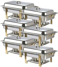 6 pc Choice Deluxe 8 Qt. Full Size Gold Accent Rectangle Chafer Professional WEB