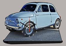 VOITURE ITALIENNE FIAT 500 BLEU-02 EN HORLOGE MINIATURE