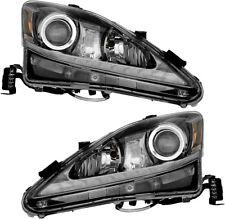 Projector Halogen Headlights w/DRL Black Pair Set for 06-10 Lexus IS250 IS350