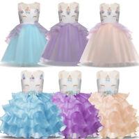 Flower Girls Princess Unicorn Tutu Dress Baby Kids Wedding Party Birthday Dress