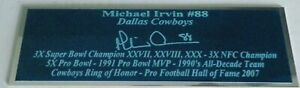 Michael Irvin Autograph Nameplate Dallas Cowboys Autograph Jersey Helmet Photo