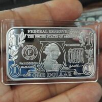 1 Troy oz  .999 Fine Silver BAR Bullion /  $1 One Dollar design  SB1J1