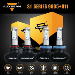 AUXBEAM S1 H11 9005 LED Headlight Bulbs High Low Beam for Ford F-150 2015-2020