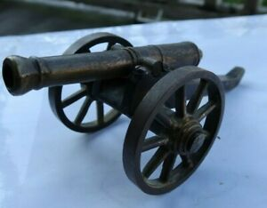 "RARE Vintage Antique 6.5"" Cast Iron Metal Toy Canon Cannon Collectible Gatling"