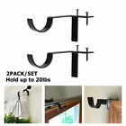 4PCS Metal Single Hang Curtain Rod Holders Bracket Into Window Frame Rod Bracket