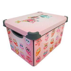 Maqio 22 Litre Plastic IML Print Owl Décor Storage Box
