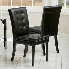 Set of 2 Dining Room Black Tufted Leather Dining Chairs