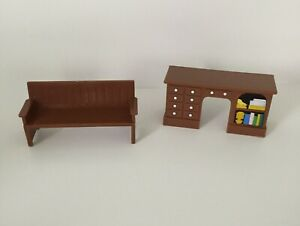 Vintage 1993 Brown Couch, Desk Quality Family Just Toys Mini Dollhouse Furniture