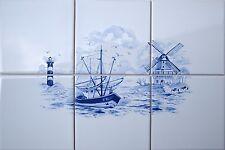 """Fliesen Bild 45x30 """" Delfter Delft Art""""  mit Windmühle, Leuchtturm, Segelschiff"""