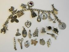 """w/ 29 Different Charms 7"""" Heavy Sterling Silver Charm Bracelet"""