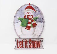 Let it Snow Snowman Snowglobe w/ Glitter Decorative Holiday Sign - New