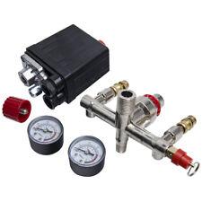 90-120 Psi Air Compressor Pressure Switch Control Valve Manifold Regulator Gauge