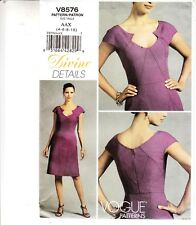 Vogue Dress Detailed Seams Mid-knee Sewing Pattern 8576 Uncut Easy 4-10