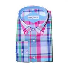 Mens Formal Check Stripe Button Down Regular Fit Shirt 100% Cotton S-4XL 15'-19'